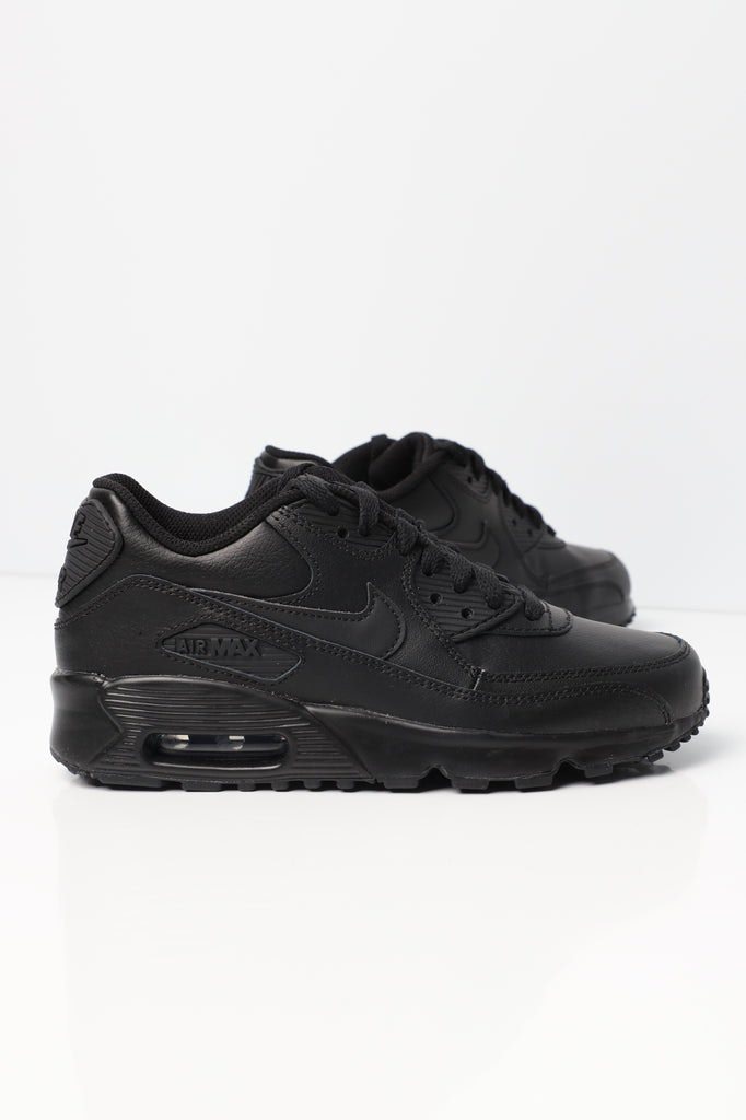 Nike Air Max 90 Leather Older Kids\u0027 Shoe Black/Black